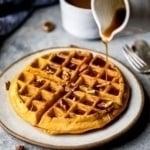 Fluffy Whole Wheat Healthy Pumpkin Waffles + a good morning fall cozy playlist