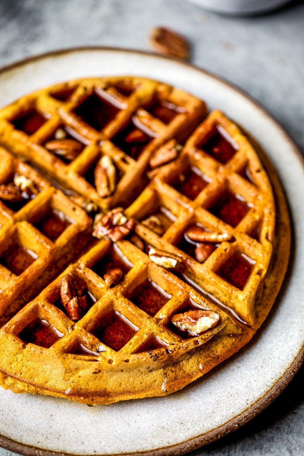 healthy pumpkin waffles on a plate