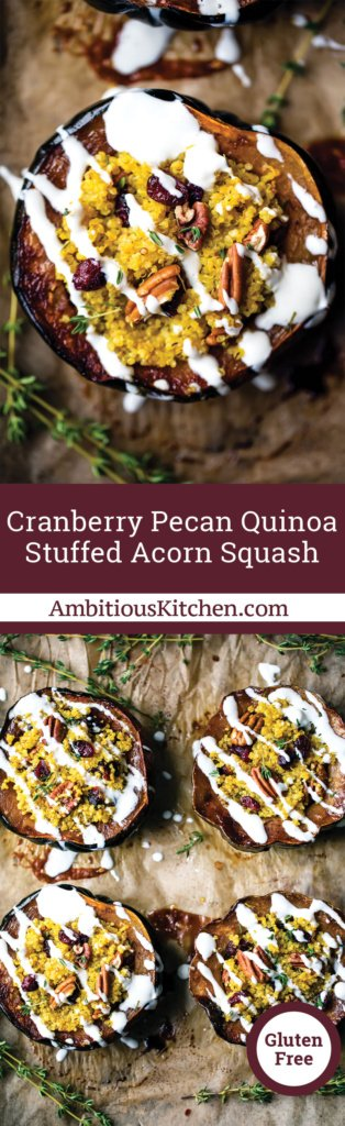 Stuffed acorn squash with cranberry, pecans and quinoa then drizzled with a simple goat cheese crema. Perfect for vegetarians at Thanksgiving!