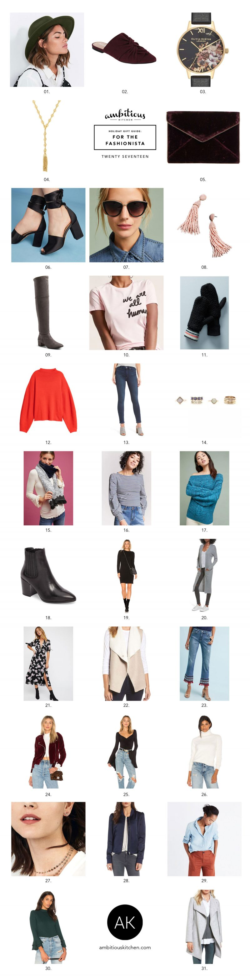 collage of gifts for fashionistas