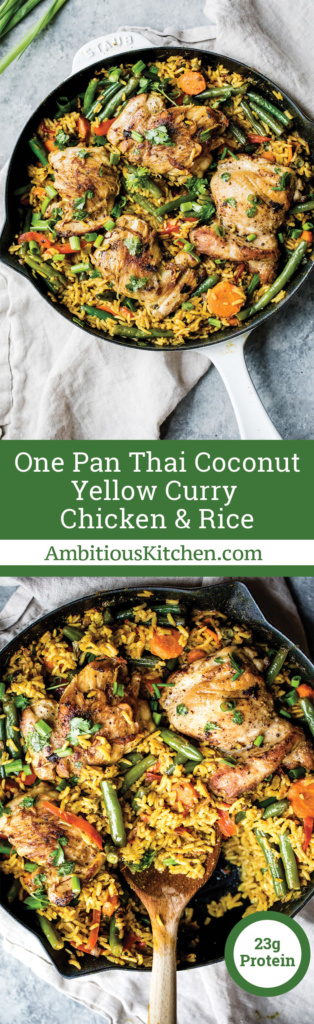 Incredible yellow curry chicken and rice made in one pot with plenty of veggies and delicious flavors from coconut milk, ginger, garlic and turmeric!