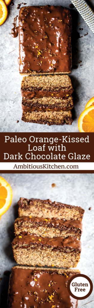 Gluten free paleo orange bread kissed and infused with fresh orange juice & zest, then covered with dark chocolate for the ultimate treat.