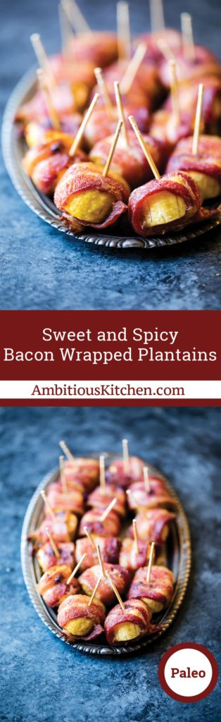 Bacon wrapped plantains with a hint of sweetness from pure maple syrup and a little spicy thanks to a kick of cayenne pepper. A great appetizer!