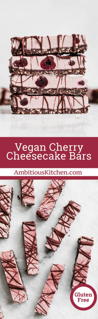 No bake vegan and gluten free cherry cheesecake bars with a chocolate almond date brownie crust. Made with healthy fats & naturally sweetened!