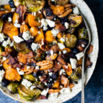 Spicy Maple Roasted Butternut Squash & Brussels Sprouts with Crispy Bacon + video