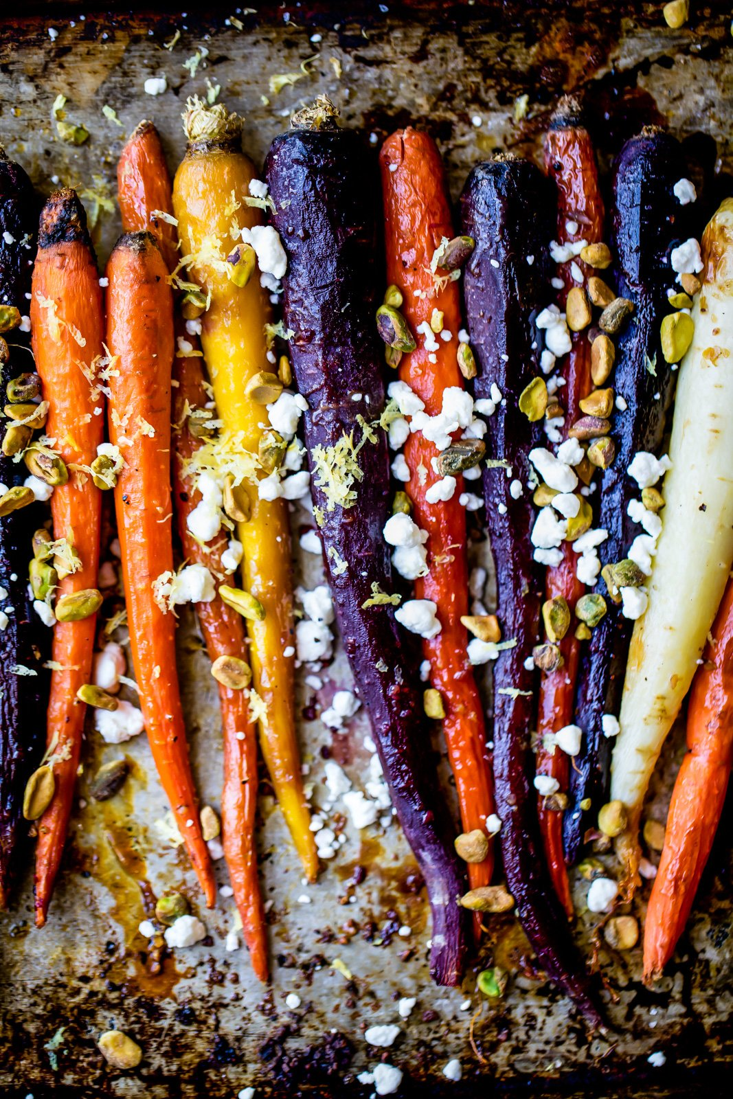maple glazed carrots on a sheet pan