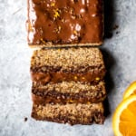 paleo orange bread topped with chocolate