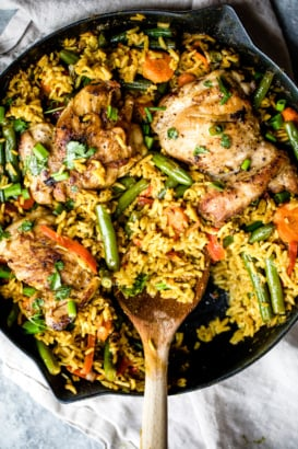 yellow curry chicken and rice in a pan