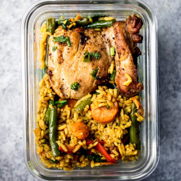 chicken, rice and veggies in a meal prep container