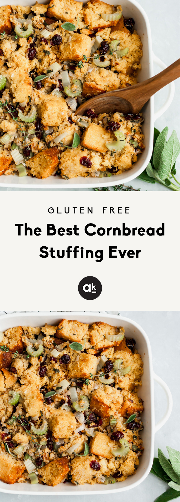 BEST STUFFING EVER! This cornbread stuffing is a healthier, gluten free take on a Thanksgiving classic stuffing! With bites of sweetness from dried cranberries, crunchy walnuts and incredible flavors from thyme and sage.