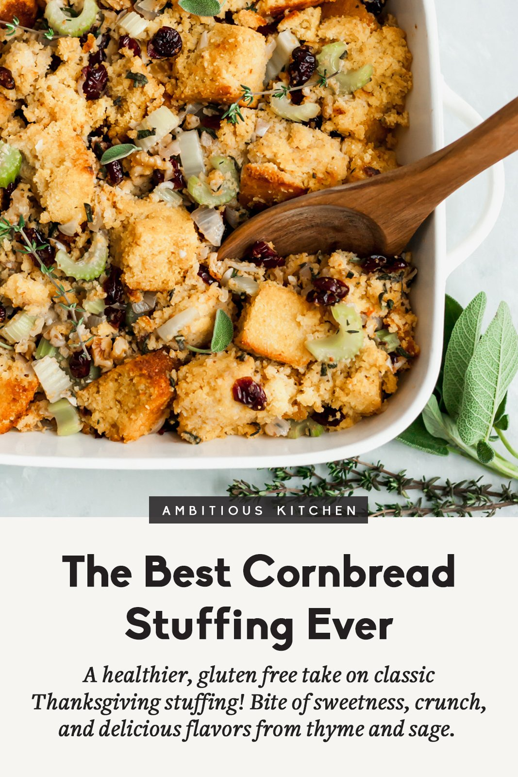Gluten Free Cornbread Stuffing With Cranberries Walnuts