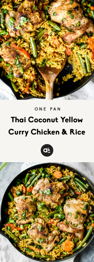 collage of yellow curry chicken and rice