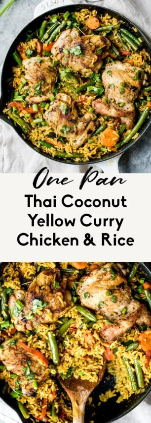 collage of one pan yellow curry chicken and rice