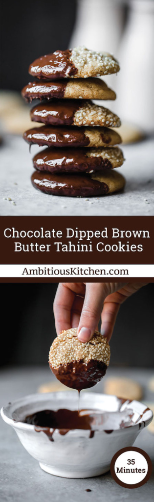 Brown butter tahini cookies dipped in sesame seeds and chocolate. They're delicious, nutty and unique. You'll love these soft cookies!