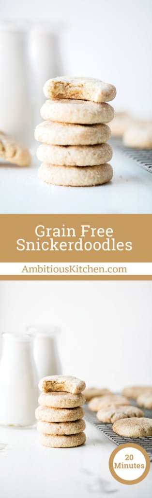 The softest grain free snickerdoodles with hints of cinnamon & sugar in every bite. These will be your new favorite snickerdoodle recipe!
