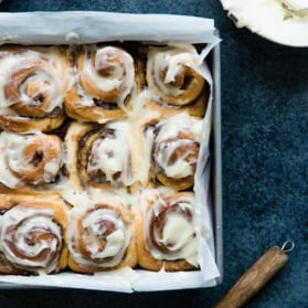 cinnamon rolls in a pan
