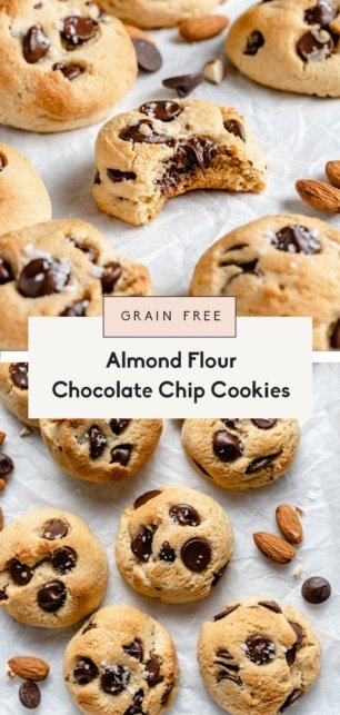 collage of almond flour chocolate chip cookies