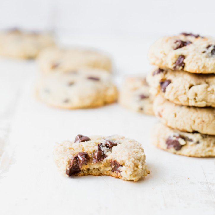 Deliciously soft, paleo almond flour chocolate chip cookies with gooey chocolate in every bite. These cookies have a punch of protein thanks to Vital Proteins Collagen Peptides!