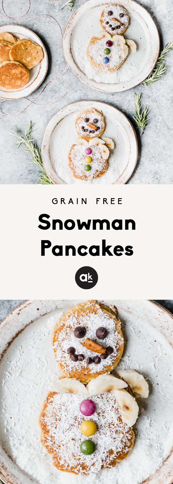 Grain free snowman pancakes made with Simple Mills Pancake & Waffles mix. A cute and festive breakfast during the holiday season and perfect to make with kids -- this recipe is in partnership with Simple Mills.