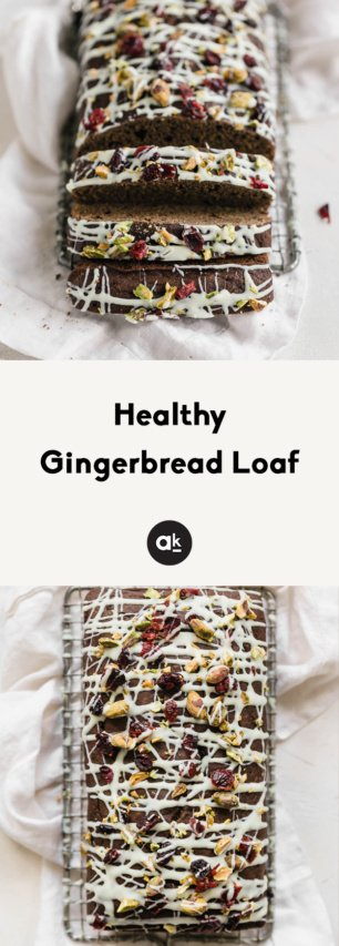 collage of healthy gingerbread loaf