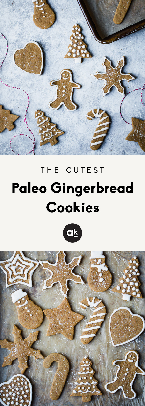 Adorable paleo gingerbread cookies made with coconut and almond flour. These grain free and gluten free cookies are the perfect treat for the holidays!