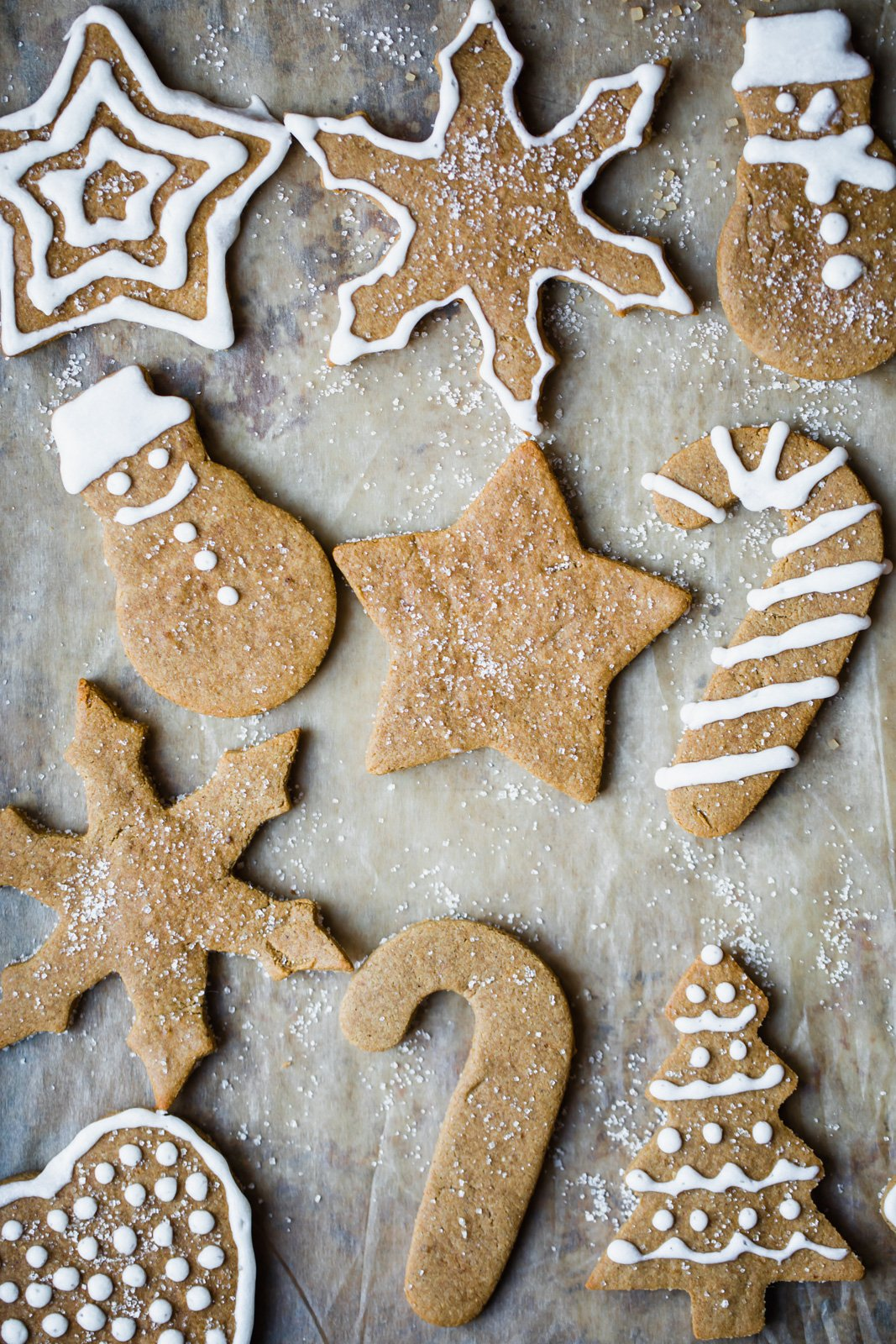 almond flour recipes: paleo gingerbread cookies cut into shapes