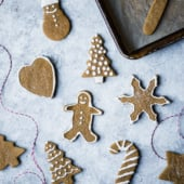 paleo gingerbread cookies cut into shapes