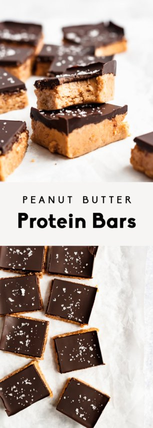 collage of peanut butter protein bars