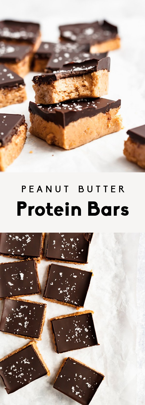 collage of peanut butter protein bars topped with chocolate