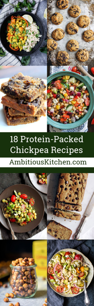 18 flavorful, protein-packed chickpea recipes that are perfect for making during the week. There are salads and stews for the best meal prep, and healthy treats to curb those sugar cravings.