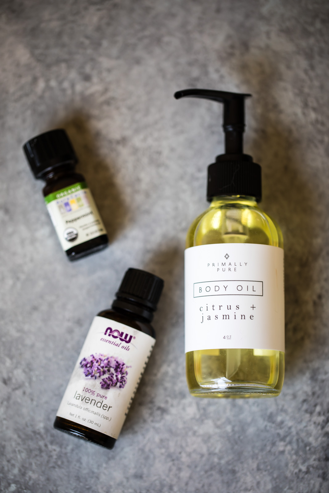 body oil and essential oils