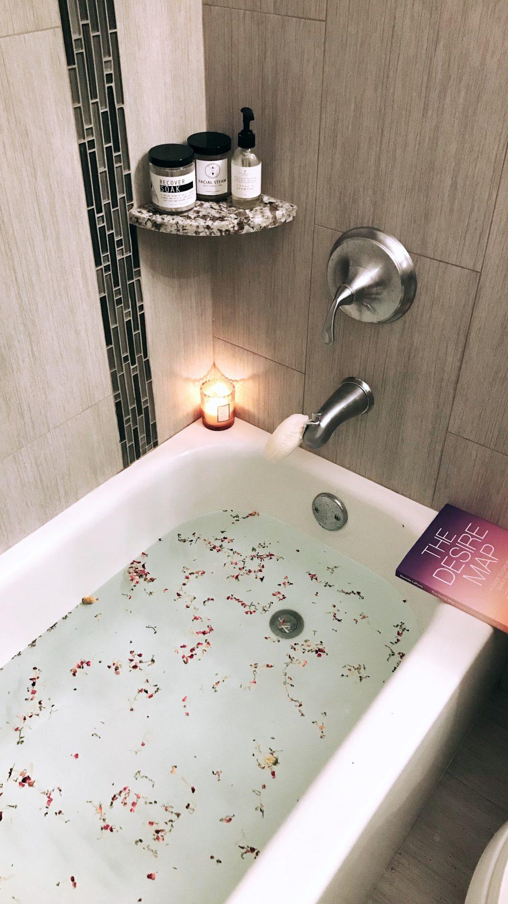 bathtub with a candle