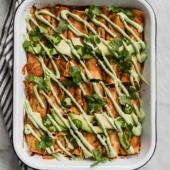 vegan enchiladas in a pan
