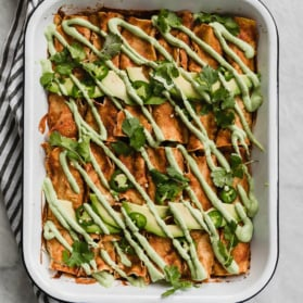 vegan enchiladas in a pan