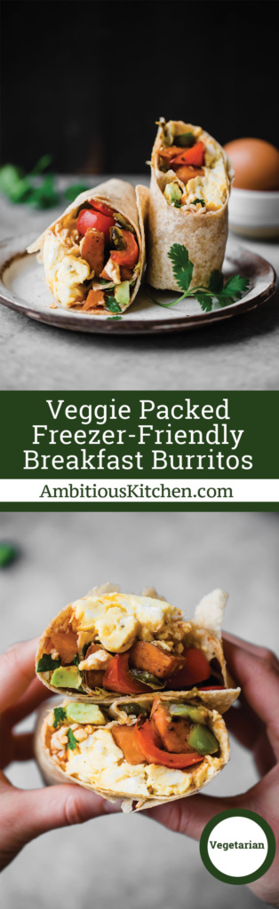 Freezer breakfast burritos that are both packed with nutritious veggies and protein for the ultimate on the go breakfast! Tip: make them ahead and reheat later.