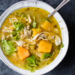 green chile chicken soup in a bowl