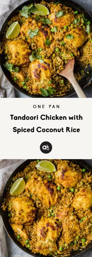 collage of one pan tandoori chicken