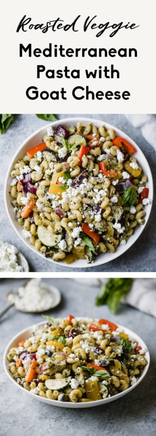 collage of a mediterranean pasta recipe