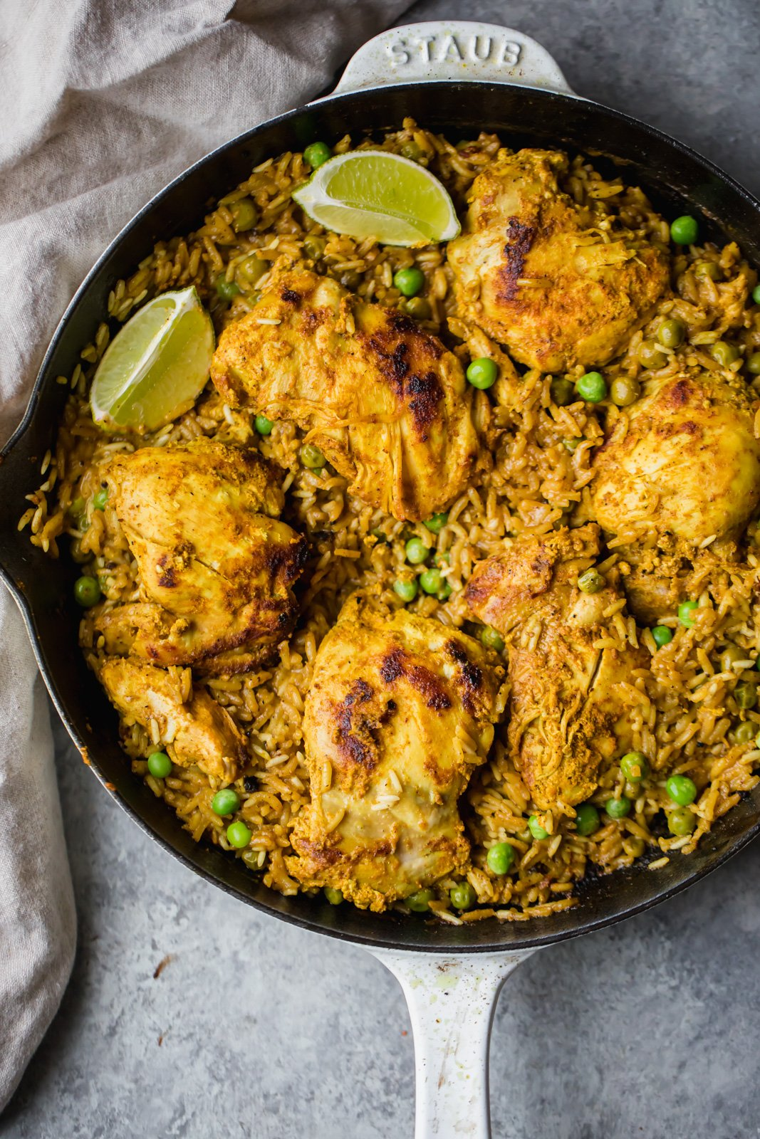 Tandoori chicken with rice in a pan
