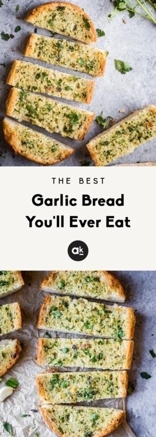 collage of the best garlic bread recipe
