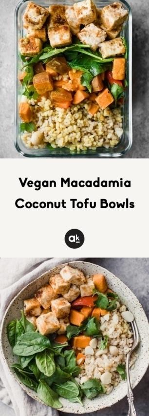 collage of vegan tofu bowls