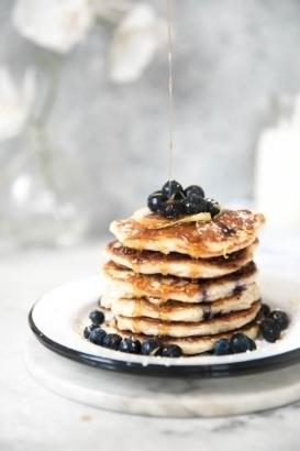 lemon blueberry quinoa pancakes on a plate
