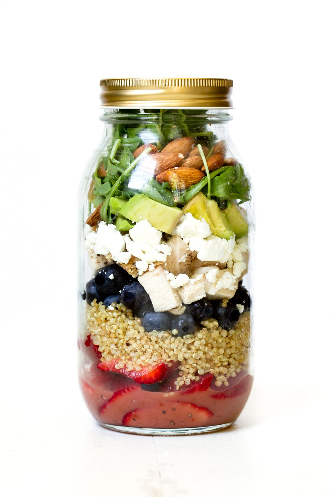 berry chicken quinoa salad in a mason jar with raspberry balsamic