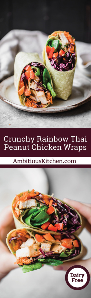 Crunchy Rainbow Thai Peanut Chicken Wraps