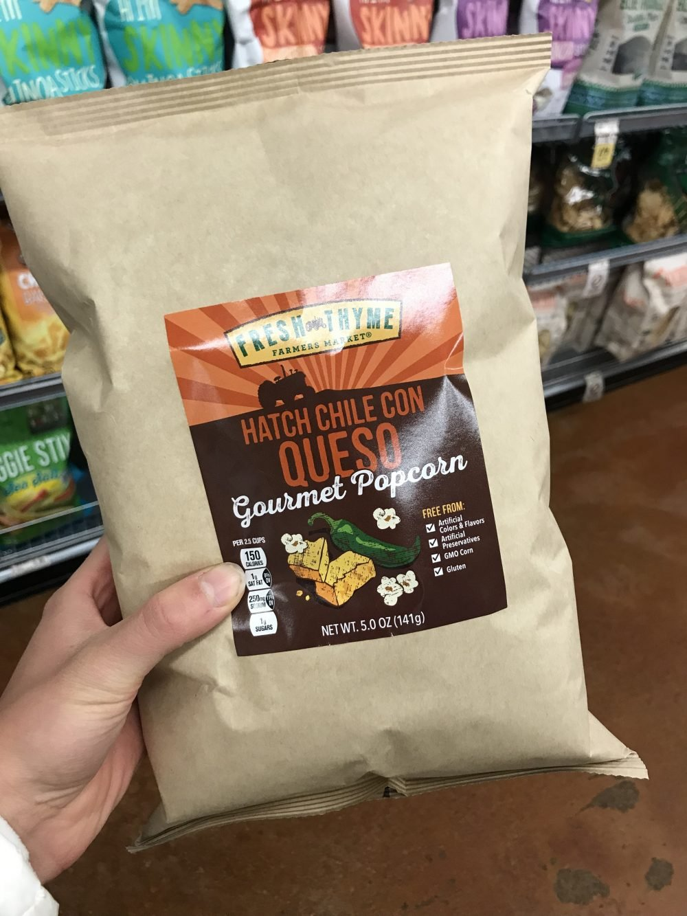 Beige bag of gourmet popcorn