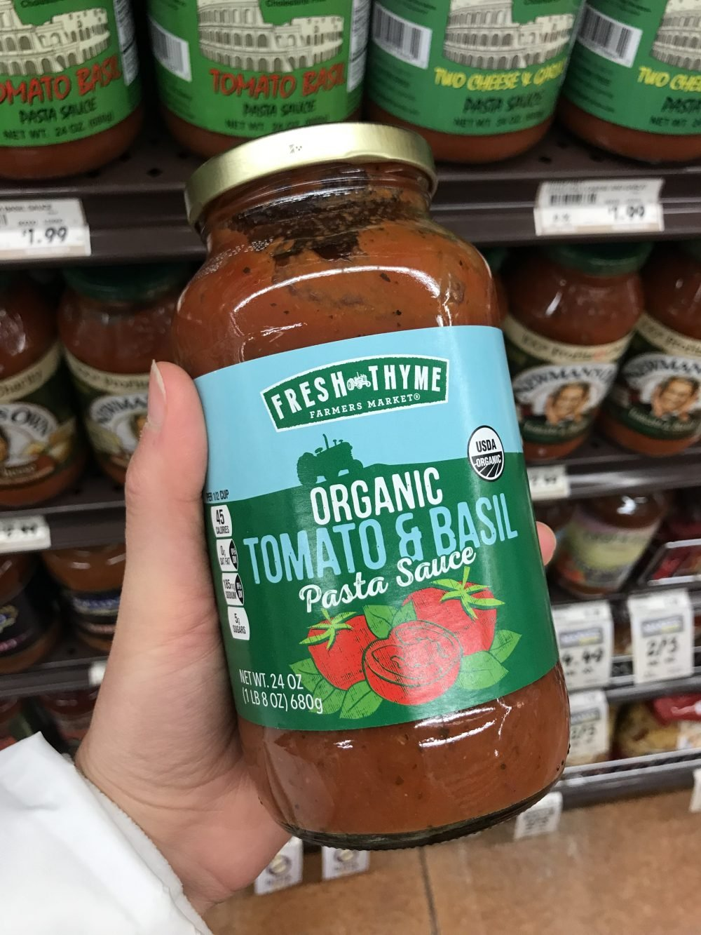Large jar of tomato sauce