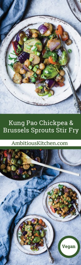 Collage of brussels sprouts and chickpeas on plates with forks