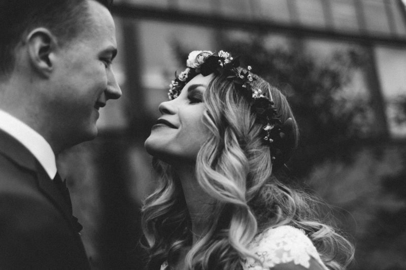 black and white photo of a wedding couple