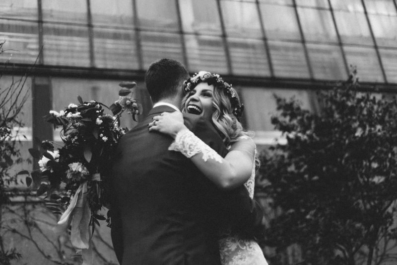 wedding couple hugging