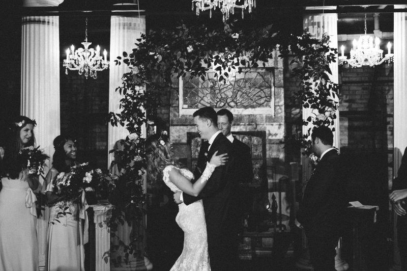 bride and groom at the front of the altar